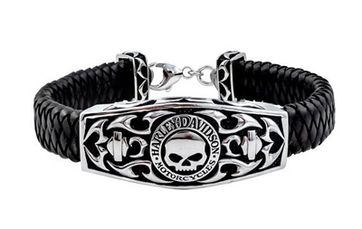 Harley Davidson Wheelie G Skull Bracelet Willie Tribal Flame Stock Genuine American Purchase Usa Import