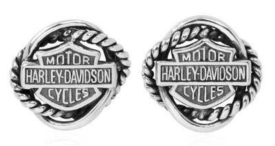 ハーレーダビッドソン Harley DavidsonB&S ウーブン サークル ポスト イアリングWoven Circle Post Earrings w/Ruthenium B&Sハーレー純正 正規品 アメリカ買付 USA直輸入 通販