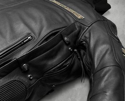 哈雷 · 大衛森哈雷大衛森男裝皮革夾克男式 H D 三排氣系統厄 3 中 1 皮夾克皮革吉恩新哈雷-大衛森真正真正美國購買美國進口從存儲區