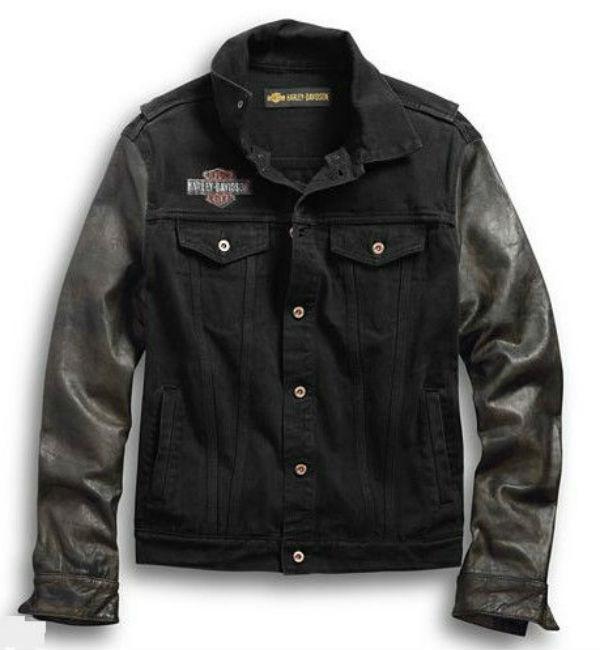 Harley Davidson ハーレーダビッドソン メンズ ジャケットMen's Leather Sleeve Slim Fit Denim Jacket 新作 ハーレー純正 正規品 アメリカ買付 USA直輸入 通販