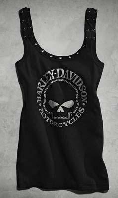 ハーレーダビッドソン Harley Davidsonレディース タンクHarley-Davidson Women's Lace Back Skull Tank● 新作 ハーレー純正 正規品 アメリカ買付 USA直輸入 通販