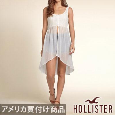 Hollister 호리스타레디스탄크툽 Sheer Lace Tank 그레이 패턴 레이스 노 슬리브 롱 길이 장식 주름 투명감 신사쿠 진짜 정규품 미국 구매 USA 직수입