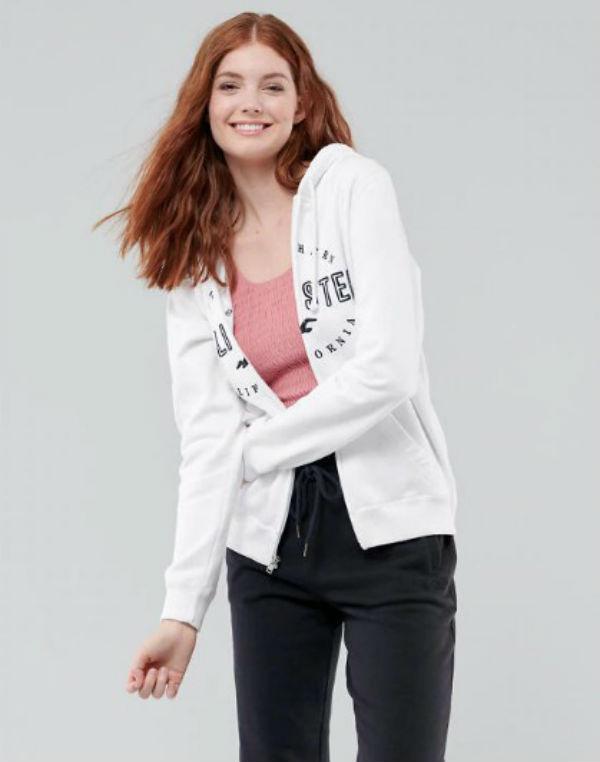 ホリスター Hollister レディース パーカーApplique Logo Full-Zip Hoodie ホワイト新作 本物 正規品 アメリカ買付 USA直輸入
