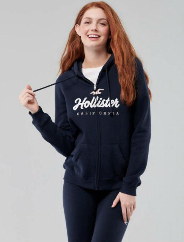 ホリスター Hollister レディース パーカーFull-Zip Logo Graphic Hoodie ネイビー新作 本物 正規品 アメリカ買付 USA直輸入