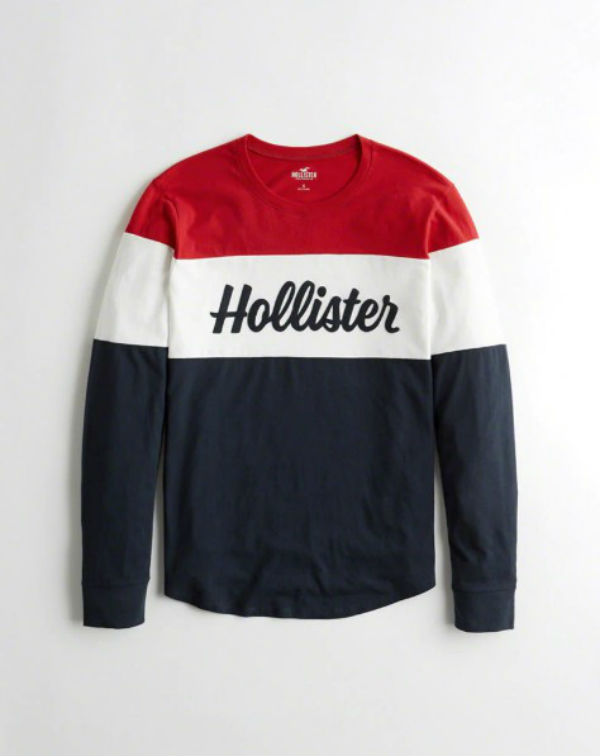 d2057db4 ... Hori star Hollister lady's long T-shirt Colorblock Logo Graphic Tee  navy ☆ new work ...