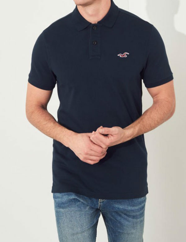 6f536bc59 Hollister Hori star men polo shirt Stretch Slim Fit Polo navy new work  genuine article regular ...