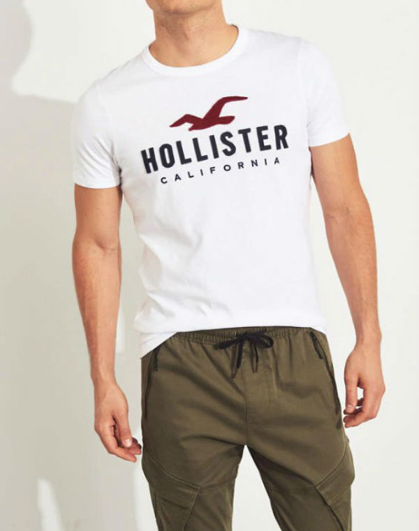 4dac4ab99875 Hollister Hori star men T-shirt Muscle Fit Logo Graphic Tee white American  casual American ...