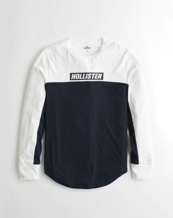 dd8c66315b09 ... Hollister Hori star men long T-shirt Print Logo Graphic Tee white /  navy ...