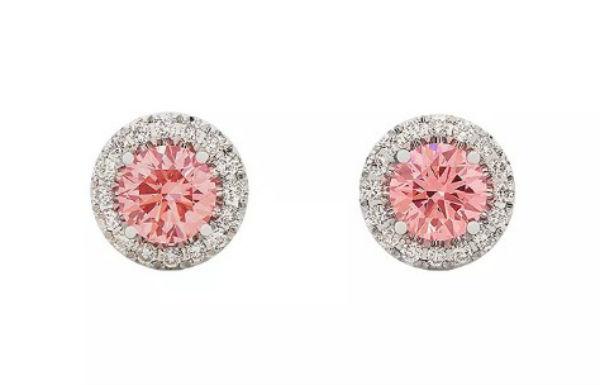 GIA ジュエリー ライトボックス LightboxHalo Lab-Grown Diamond Stud Earrings ホワイト/ピンクラブダイヤモンド(約1.00ct)CVDダイヤモンド 合成ダイヤモンド Lightbox アメリカ買付 USA直輸入