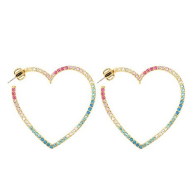 Juicy Couture Heart Piercing Rainbow Hoop Earrings Gold Gift Gifts Las Accessories New An United