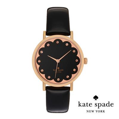 Kate spade Kate Spade watch metro scallop dial leather strap watch 34 mm  (Black/RoseGold) Metro with scalloped leather strap Watch (black/rose) new