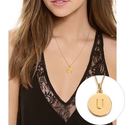 kate spade kate spade necklaces letter pendant necklace gold initials medals one in a million gold alphabet coin ladiesacesally japan genuine united