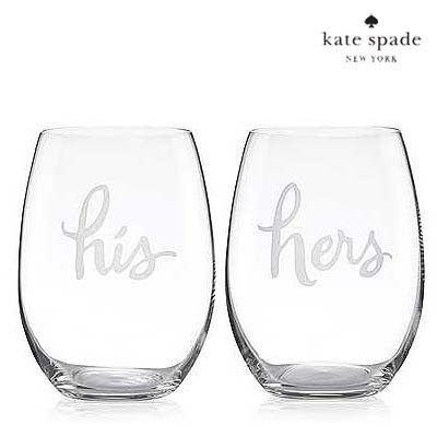 ケイトスペード Kate Spade ワイングラス セット His and Hertwo of a kind stemless his and hers wine glasses 新作 正規品 アメリカ買付 ウェディングギフト