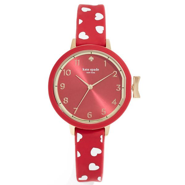ケイトスペード 腕時計 Kate Spade KSW1483Park Row Red Watch, 34mm (Red) ハート シリコン ブレスレット ウォッチ 時計 (レッド) 新作 正規品 アメリカ買付 レディース ジュエリー 腕時計 ギフト