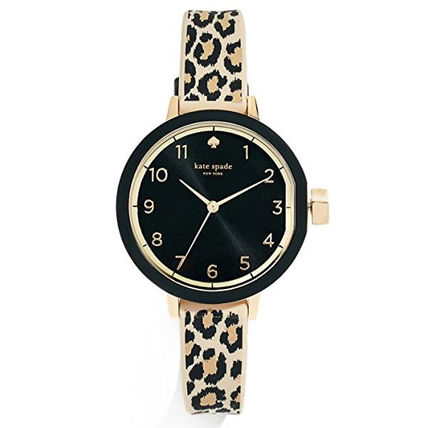 ケイトスペード 腕時計 Kate Spade KSW1485Park Row Leopard Print Silicone Strap 34mm (Black/brown) レオパード シリコン ブレスレット ウォッチ 時計 (ブラック) Park Row Leopard-Print Watch 新作 正規品 アメリカ買付 レディース ジュエリー 腕時計 ギフト