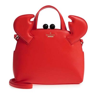 ケイトスペード 2WAYハンドバッグ Kate Spade shore thing small crab lottie leather satchel (Picnic Red) クラブ/カニ レザー サッチェル (ピクニックレッド) 新作 正規品 アメリカ買付 レディース バッグ ショルダーバッグ ハンドバッグ