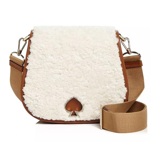 ケイトスペード ショルダーバッグ Kate Spade Suzy Large Fluffy Saddle Bag (Antique Ivory) スージー ラージ フラッフィー サドルバッグ (アンティークアイボリー) 新作 正規品 アメリカ買付 レディース バッグ ポシェット クロスボディバッグ