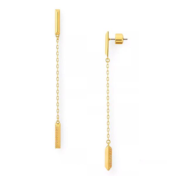 ケイトスペード ピアス Kate Spade Raise the Bar Pave Linear Earrings (Gold) バー パヴェ ライナー ピアス (ゴールド) Pave Bar Linear Drop Earrings 新作 正規品 アメリカ買付 レディース ジュエリー アクセサリー ギフト プレゼント