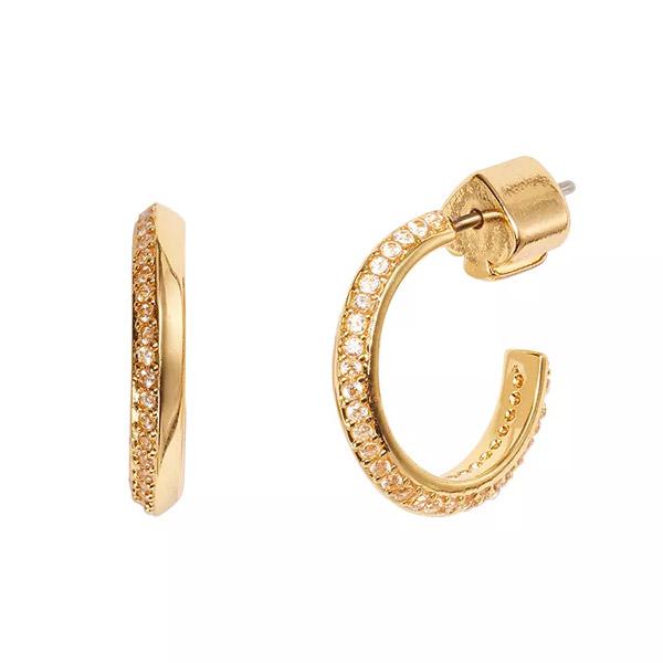 ケイトスペード ピアス Kate Spade Raise the Bar Huggie Hoop Earrings (Gold) スモール パヴェ ハギー フープ ピアス (ゴールド) Small Pave Hoop Huggie Earrings 3/4