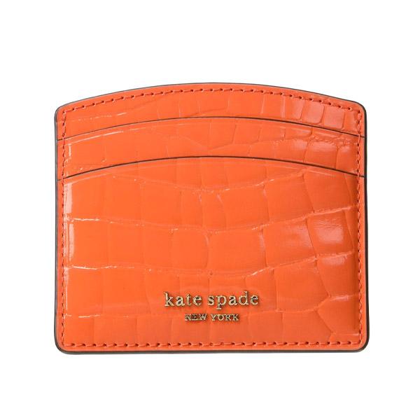 ケイトスペード カードケース Kate Spade Sylvia Croc-Embossed Card Case (Firelily) シルビア クロコ エンボス カードケース (ファイヤーリリー) 新作 正規品 アメリカ買付 財布 レディース 財布 クロコダイル コンパクト カードホルダー