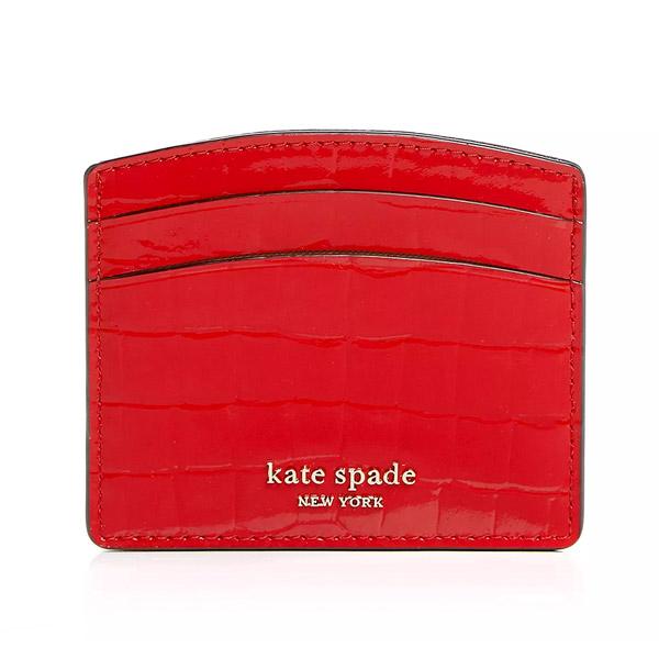 ケイトスペード カードケース Kate Spade Sylvia Croc-Embossed Card Case (Hot Chili) シルビア クロコ エンボス カードケース (ホットチリ) 新作 正規品 アメリカ買付 財布 レディース 財布 クロコダイル コンパクト カードホルダー