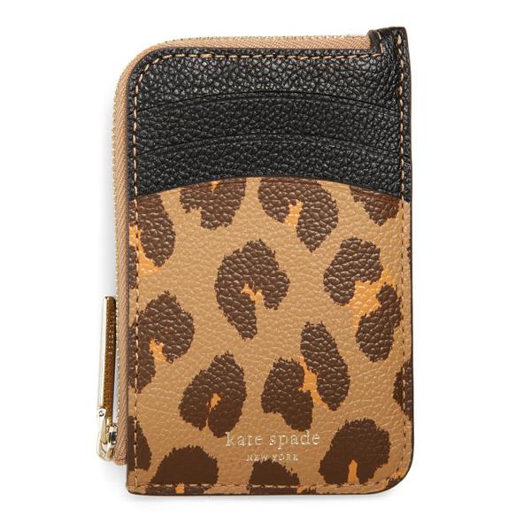 ケイトスペード カードケース/コインケース Kate Spade margaux leopard print leather card case (Natural Multi) レオパード カードケース 財布 (マルチ) spencer zip around leather continental wallet 新作 正規品 アメリカ買付 レディース ヒョウ柄 キーケース