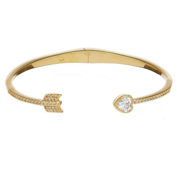 44db906df62a3 Kate spade bracelet Kate Spade wbruh089 romantic rocks open-hinged cuff  (Clear/Gold) heart caph bracelet (gold) Gold-Tone Crystal Heart Arrow Cuff  ...