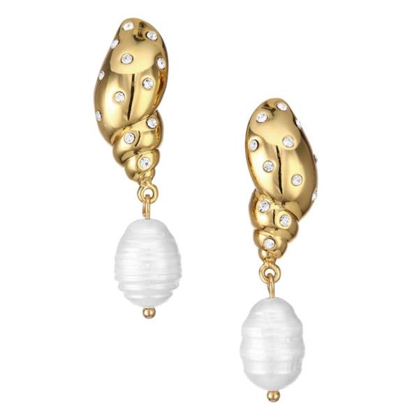 ケイトスペード ピアス Kate Spade wbruh446under the sea pave tulip shell drop earrings (Clear/Gold) パヴェ シェル ドロップ ピアス (ゴールド) 新作 正規品 アメリカ買付 レディース ジュエリー アクセサリー プレゼント 貝殻