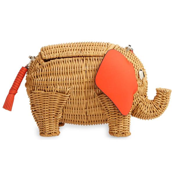 ケイトスペード かごバッグ Kate Spade tiny wicker elephant crossbody bag (Tamarillo) ウィッカー エレファント クロスボディバッグ (タマリロ) 新作 正規品 アメリカ買付 レディース バッグ ショルダーバッグ ゾウ