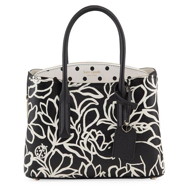 ケイトスペード 2WAYバッグ Kate Spade margaux embossed scribble flora tote bag (Black Pattern) マルゴー フローラル サッチェル (マルチ) Margaux Floral and Dot Medium Satchel Bag 新作 正規品 アメリカ買付 レディース バッグ ハンドバッグ