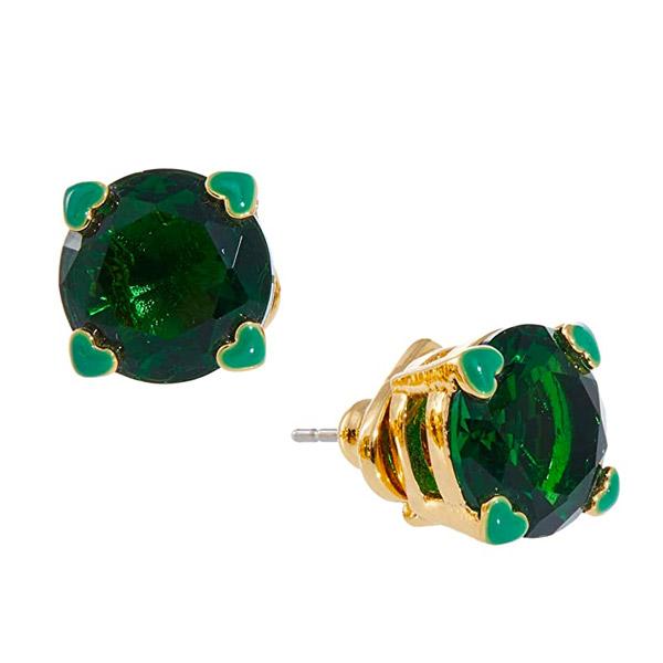 ケイトスペード Kate ショップ Spade 新作 ピアスアメリカ LA在住スタッフ買付発送 ピアス SpadeHeart Stud Earrings Prong Crystal Gold-Tone 4-Heart Emerald エメラルド 期間限定で特別価格 スタッド Green ハート