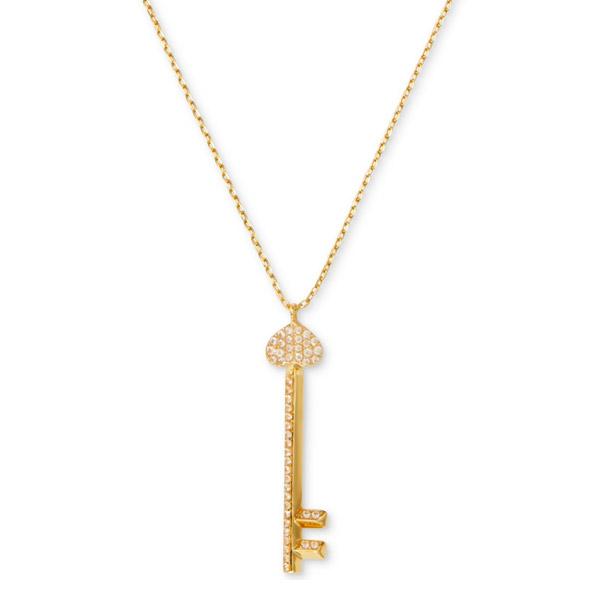 ケイトスペード ネックレス Kate Spade Gold-Tone Pave Key Pendant Necklace (Gold) パヴェ キー ペンダント ネックレス (ゴールド) Lock and Spade Pave Key Pendant Necklace 新作 正規品 アメリカ買付 レディース ジュエリー アクセサリー 鍵