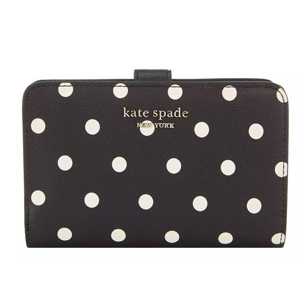 ケイトスペード 二つ折り財布 Kate Spade pwru7931 spencer cabana dot compact wallet (BLACK MULTI) スペンサー ドット コンパクト ウォレット (ブラックマルチ) 新作 正規品 アメリカ買付 レディース 財布 水玉