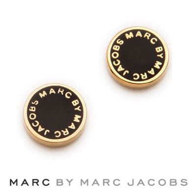 Marc By Jacobs Earrings Enamel Logo Disc Black Gold Disk Genuine Usa Imported Womens