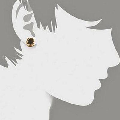 標記雅各布無環耳環Enamel Logo Disc Earrings(Black/Gold)M3PE525珐琅標識磁盤無環耳環(黑色/黄金)★MARC JACOBS正規的物品USA直接進口redisurogosutazzu