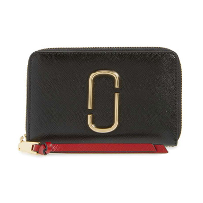 df8b7744a2a8c Mark Jacobs folio wallet MARC JACOBS Snapshot Standard Small Leather Wallet  (BLACK/CHIANTI) ...