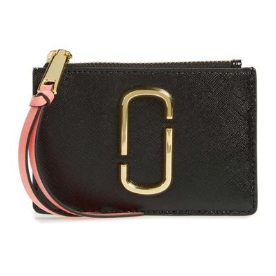 56d3dfdac622 Mark Jacobs card case M0013359 MARC JACOBS Snapshot Top Zip Multi Wallet  (BLACK/ROSE ...