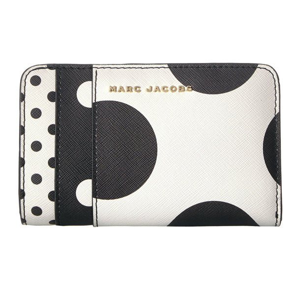 7f0fd1e755 Mark Jacobs folio wallet M0014073 MARC JACOBS Saffiano Metal Letters Polka  Dot Compact Wallet (WHITE ...