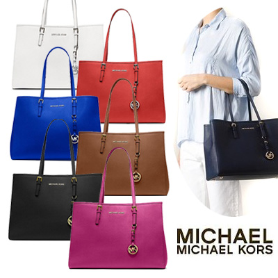 a5be39ab4281 Michael Kors bag / Michael Michael course bag Jet Set Large Travel East  West Tote jet ...