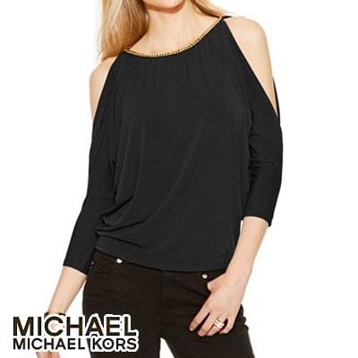 8165d88786c Michael Kors 7 sleeve shirt / tops Cold Shoulder Chain-Link Top (Black)  cold shoulder chain link tops (black) Michael Michael Kors autumn/winter  black ...