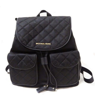 756f5f7c3 Michael Kors Backpack / Rucksack Quilted Nylon Large Flap Backpack  (Black/Gold) quilted ...