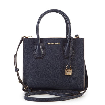 Michael Course 2 Way Handbag 30f6gm9m2l Kors Mercer Medium Messenger Navy Bonded Leather Crossbody Admiral New Positive