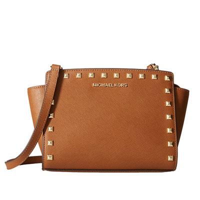 f871472ce381 Michael Kors Crossbody Selma Medium Studded Saffiano Leather Messenger  (Luggage) Selma medium Stud Messenger ...