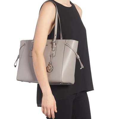 Michael Kors tote bag Michael Kors 30H7GV6T8L Voyager Medium Leather Tote  (Pearl Grey) medium leather tote bag (gray) Voyager Multi-Function Top Zip  Medium ... 8abf19bc8241e
