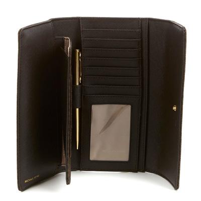 e52605de736626 ... coupon for michael kors long wallet michael kors signature jet set item checkbook  wallet brown wallet ...