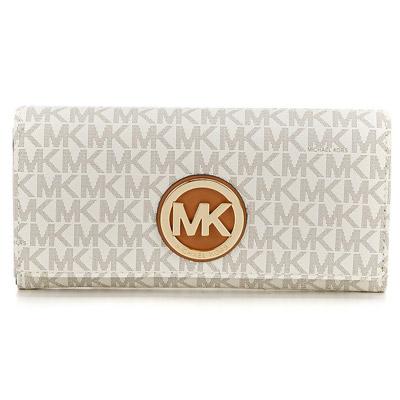 マイケルマイケルコース 長財布 Michael Michael Kors Signature Fulton Carryall Wallet (Vanilla) シグニチャー ロゴ キャリーオール 財布(バニラ) ● 新作 正規品 レディース ウォレット