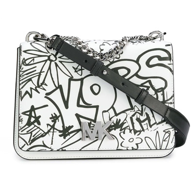 d31d5715445f Michael Kors shoulder bag 30T8SOXL7T Michael Michael Kors Mott Large  Graffiti Leather Crossbody (Optic White ...