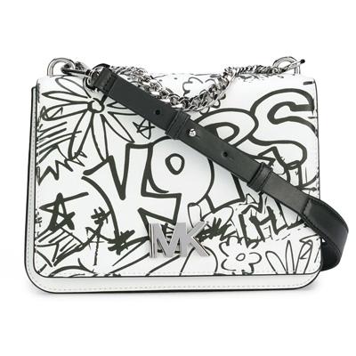 マイケルコース ショルダーバッグ 30T8SOXL7T Michael Michael Kors Mott Large Graffiti Leather Crossbody (Optic White) MOTT チェーン スワッグ ショルダー (オプティックホワイト) ★ 正規品 レディース バッグ ハンドバッグ イラスト ストリート グラフィティ