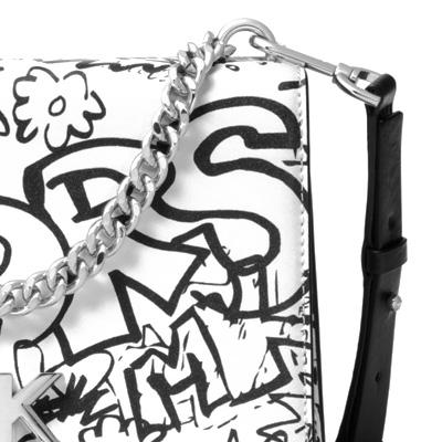 マイケルコース ショルダーバッグ 30T8SOXL7T Michael Michael Kors Mott Large Graffiti Leather Crossbody (Optic White) MOTT チェーン スワッグ ショルダー (オプティックホワイト) ★ 新作 正規品 レディース バッグ ハンドバッグ イラスト ストリート グラフィティ