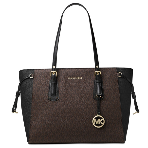 9602f9b8ea6899 Michael Kors tote bag Michael Michael Kors 30F8GV6T8B Voyager Medium Logo  Tote (Brown/Black ...